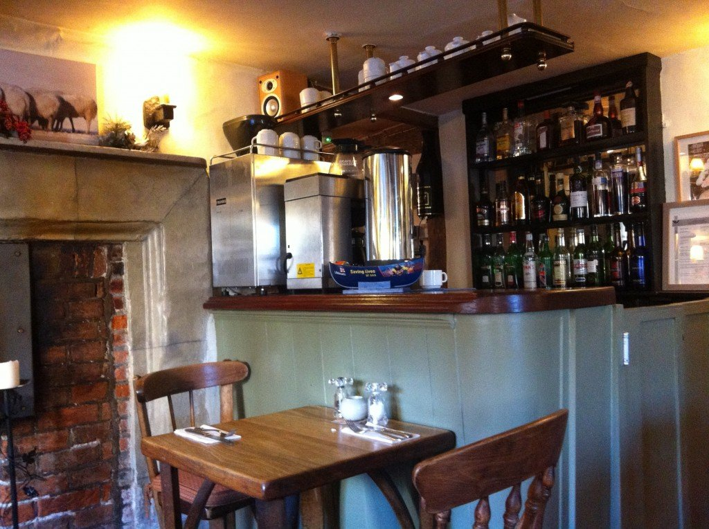 The attractively rustic interior of The Bull & Butcher