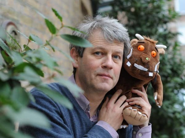 Axel Scheffler and his baby,  The Gruffalo