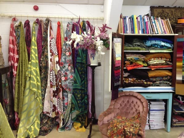 Some of the beautiful fabrics. I loved the acid yellow/green on the left