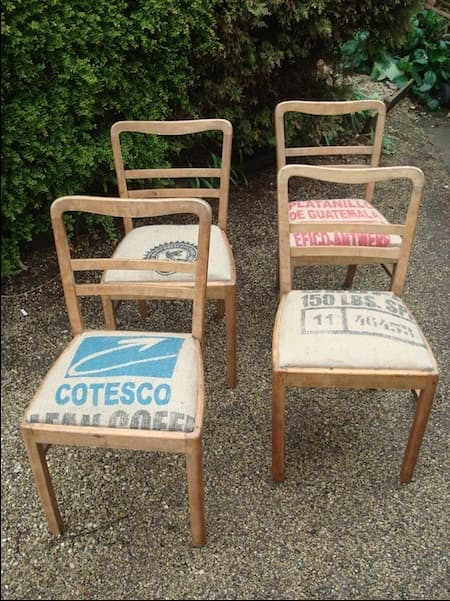 Deco chairs with Columbian coffee sack upholstery. These are sold sadly but you get the idea.