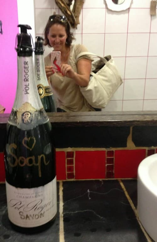 Loving the champers soap in the loos (and check out my phone cover lol!)