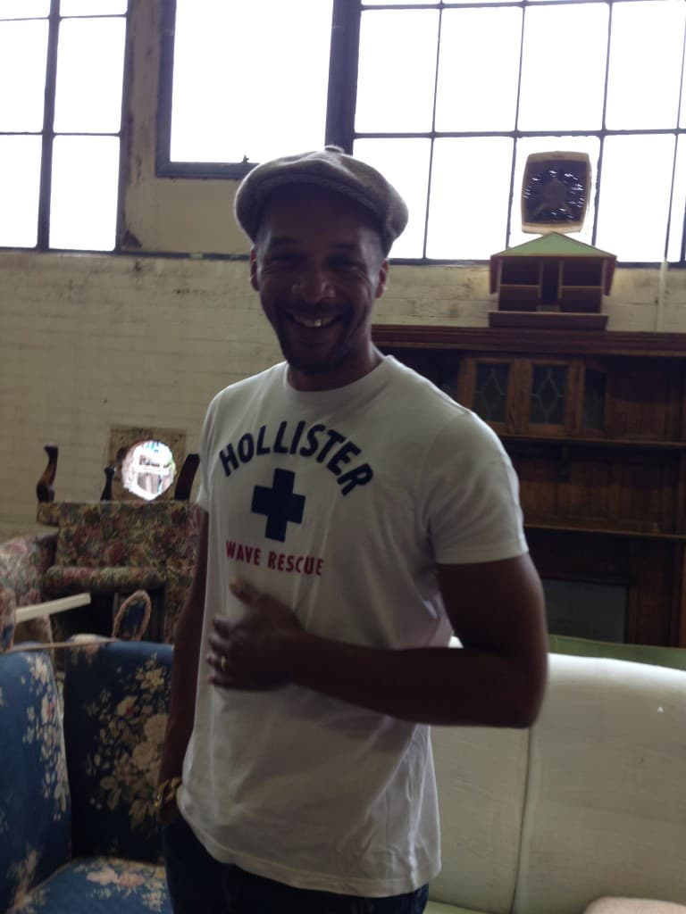 Jay in the warehouse, having the giggles